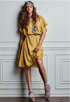Deepika Padukone Mustard Yellow Woven Kurta
