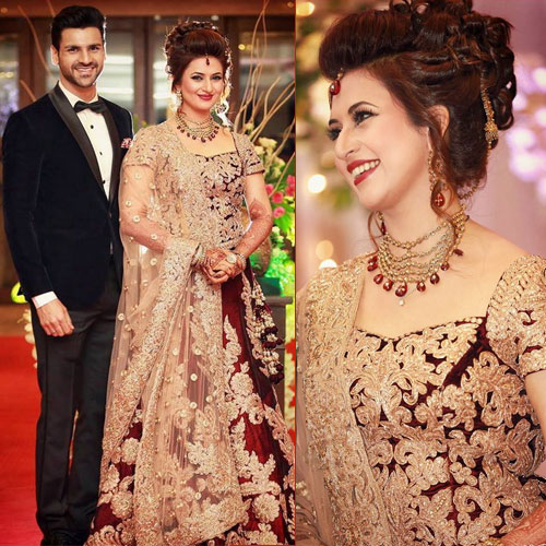 Divyanka Tripathi in Maroon lehenga at her reception