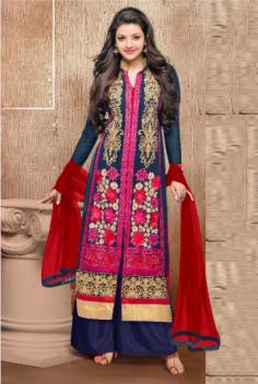 Kajal Aggarwal Georgette Blue Palazzo Pant Suit