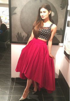 Mouni Roy Polka Dots Crop-Top With Skirt (Replica)