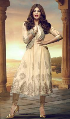 Similar look like Jacqueline Fernandez Printed Kurta with Churidar & Waistcoat