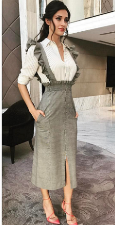 Similar like Disha Patani Shirred Waist Plaid Skirt with Flounce Strap