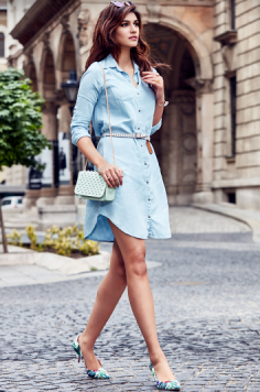 Same as Kriti Sanon Blue Solid Shirt Dress