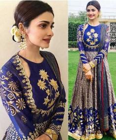 Prachi Desai Blue Banglori Silk Designer Gown (Replica)