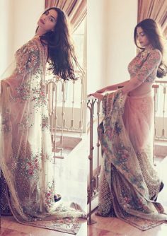 Replica of Sonam Floral Nylon Net Saree with Un-Stitched Blouse Material
