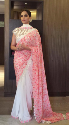 Replica of Sonam Kapoor Pink Georgette Saree