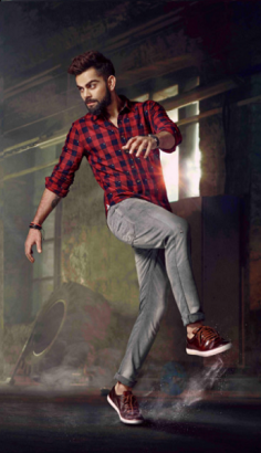 Virat Kohli WROGN Red & Navy Blue Checked Casual Shirt
