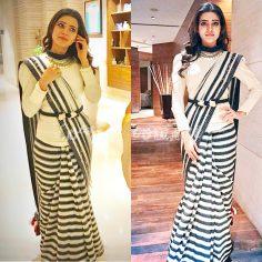 Samantha Prabhu in Black & White Striped Saree