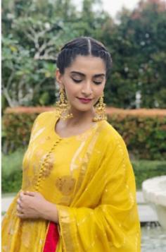 Replica of Sonam Kapoor Silver Gold Plated Lotus Jhumki Earrings