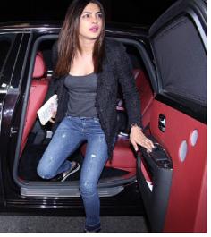 Priyanka Chopra in Grey top with Jacket