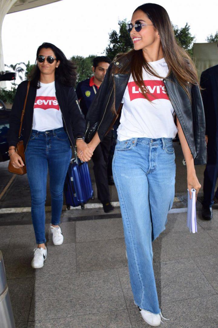 Deepika White Printed Detail Round Neck T-shirt