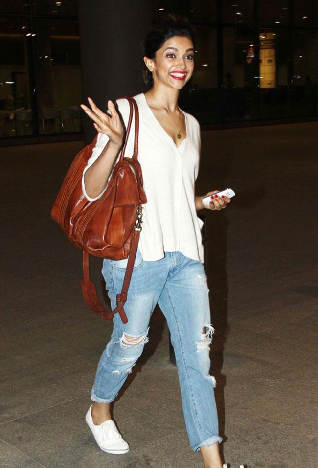 Deepika in Blue Distressed Jeans (Airport Look)