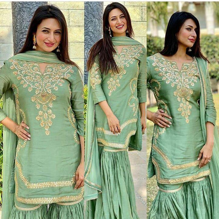 Divyanka Tripathi in Green Sharara suit set