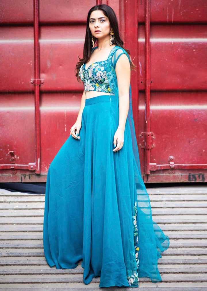 Sonalee Kulkarni in Teal Palazzo Crop top with Cape