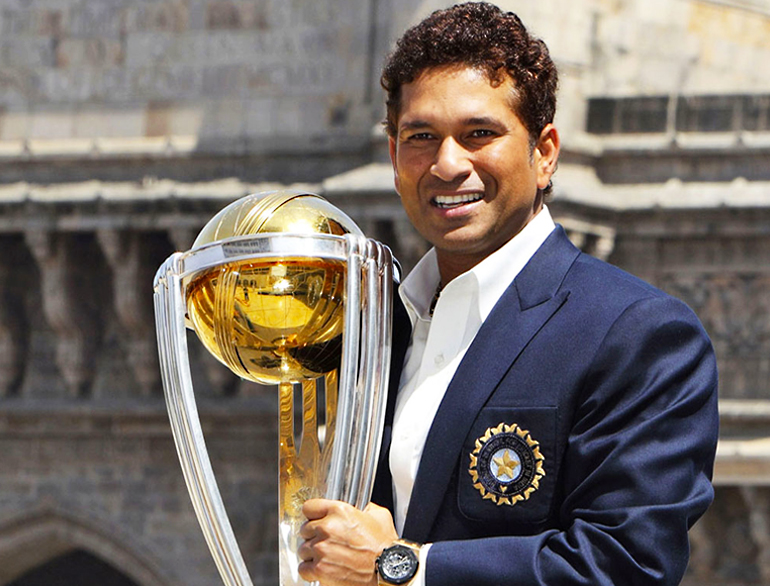 Sachin Tendulkar receiving World Cup @TheRoyaleIndia
