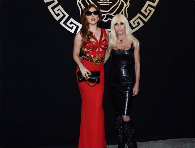 Lady Gaga with designer Donatella Versace @TheRoyaleIndia