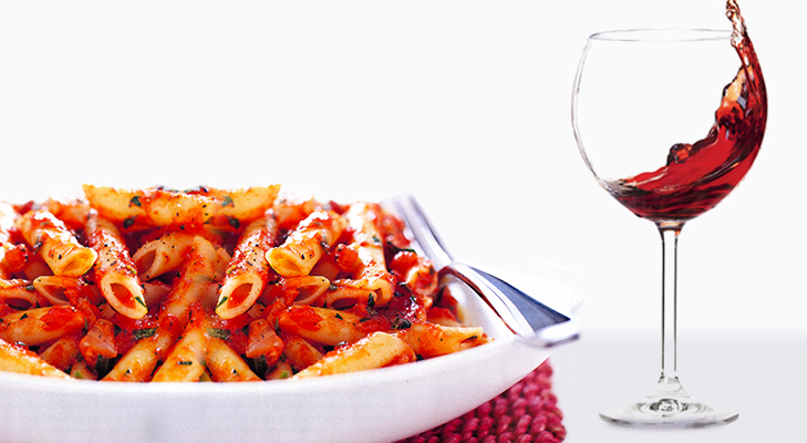 Red Wine with Pasta in Tomato Sauce @TheRoyaleIndia