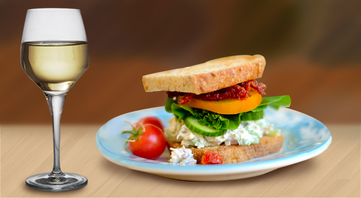 White Wine with Garden Salad Sandwiches @TheRoyaleIndia