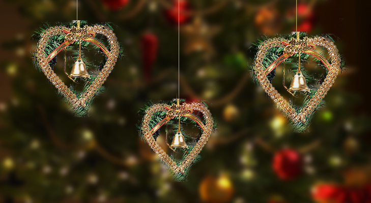 Golden Heart-shaped Hoopos for Christmas Tree Decoration @TheRoyaleIndia