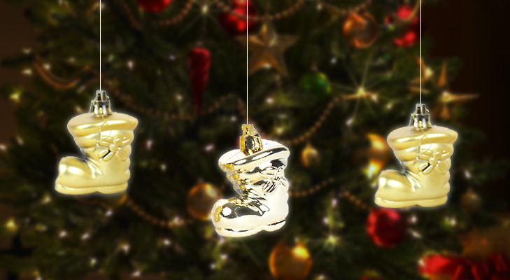 Golden Santa Shoes for Christmas Tree Decoration @TheRoyaleIndia