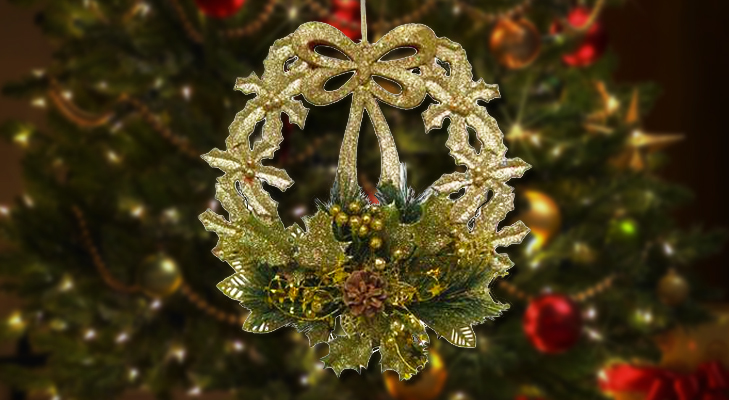 Golden Wreath Ornament for Christmas Tree Decoration @TheRoyaleIndia