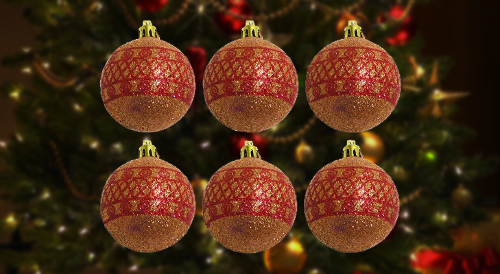 Red and White glittery Balls for Christmas Tree Decoration @TheRoyaleIndia