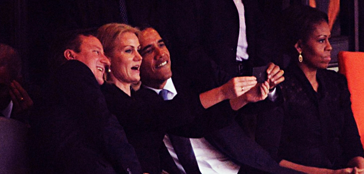 Barack Obama, Helle Thorning-Schmidt & David Cameron Selfie @TheRoyaleIndia