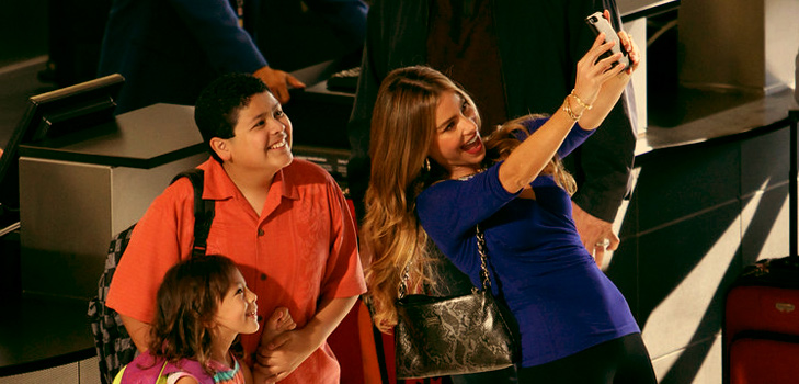 Sofia Vergara takes a selfie, in LA on the sets of Modern Family @TheRoyaleIndia