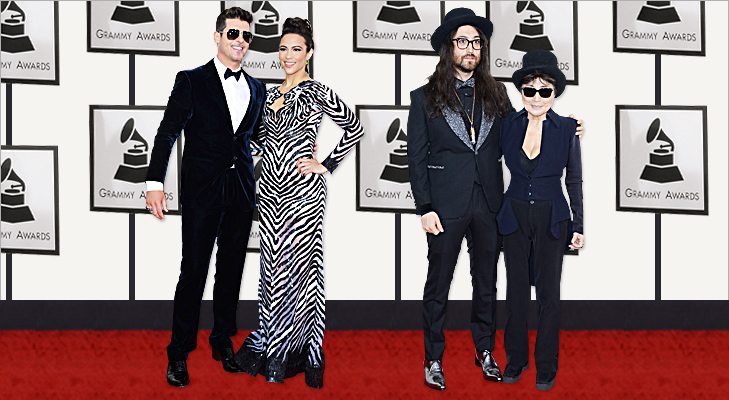 Robin Thicke, Paula Patton, Yoko Ono & Sean Lennon at Grammy 2014 @TheRoyaleIndia