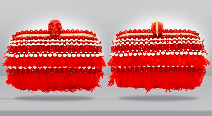 alexander mcqueen scarlet skull clutch @TheRoyaleIndia