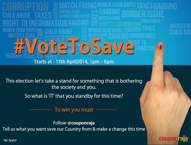 #VoteToSave Twitter Contest by Couponraja.com @couponraja