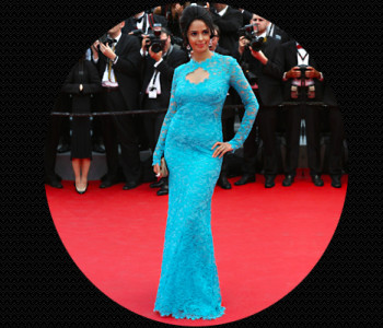 Mallika Sherawat in striking blue lacey gown by Emilio Pucci @TheRoyaleIndia