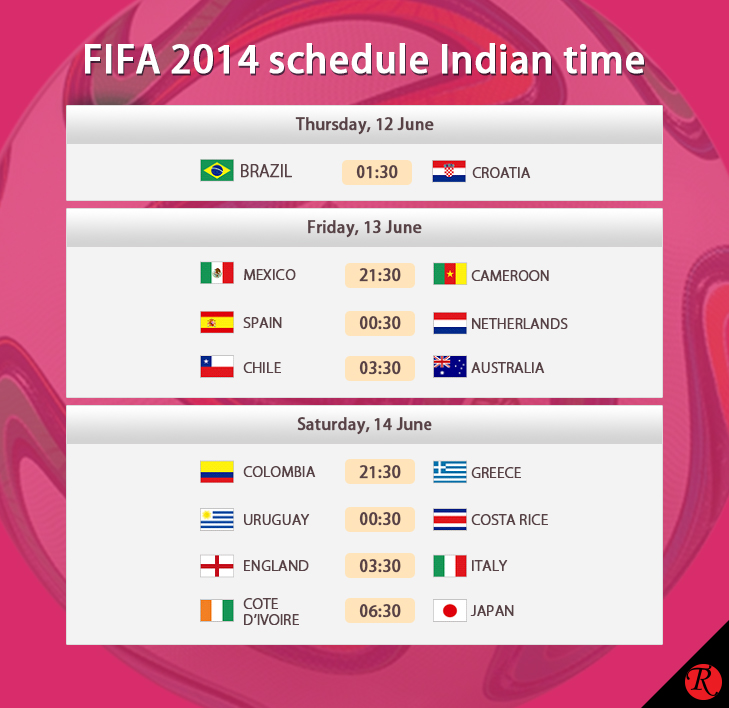 FIFA 12 - 14 June IST schedule @TheRoyaleIndia