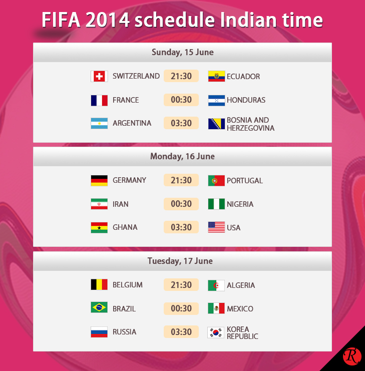 FIFA 15 - 17 June IST schedule india time @TheRoyaleIndia