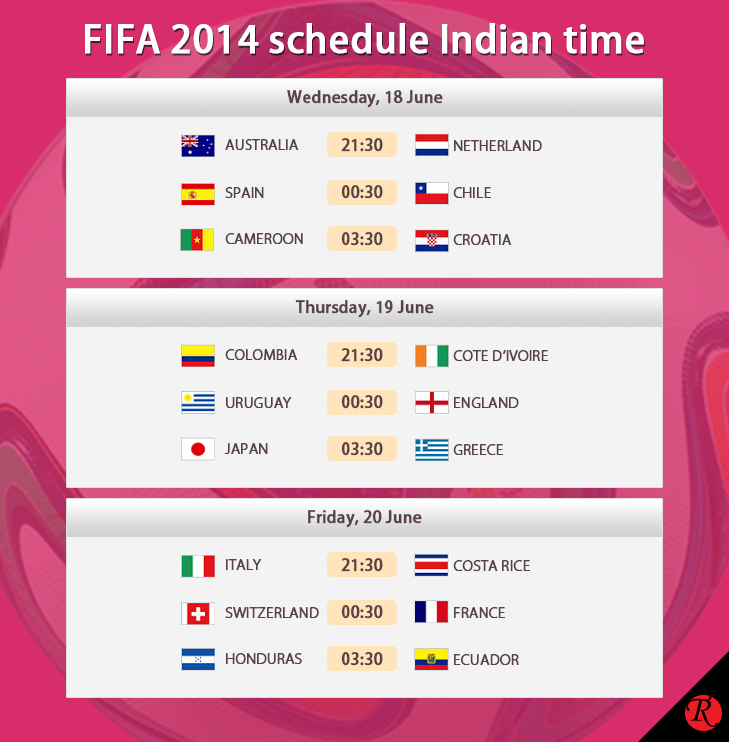18 - 20 June Indian Standard Time FIFA schedule @TheRoyaleIndia
