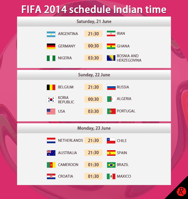 21 - 23 June IST FIFA schedule india time @TheRoyaleIndia