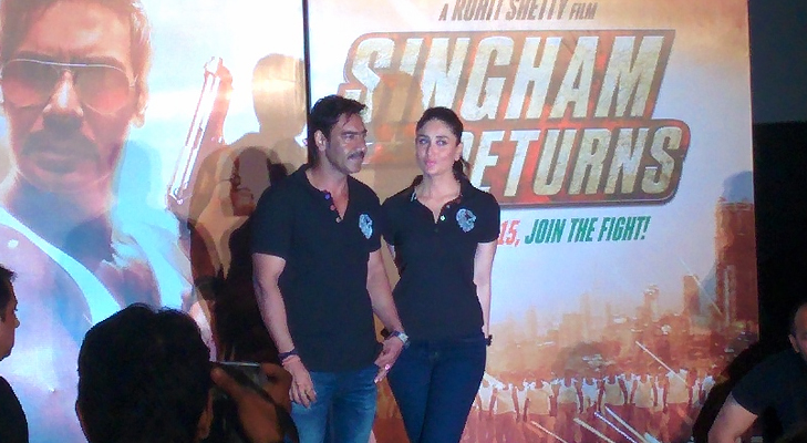 ajay & kareena at trailer launch @TheRoyaleIndia