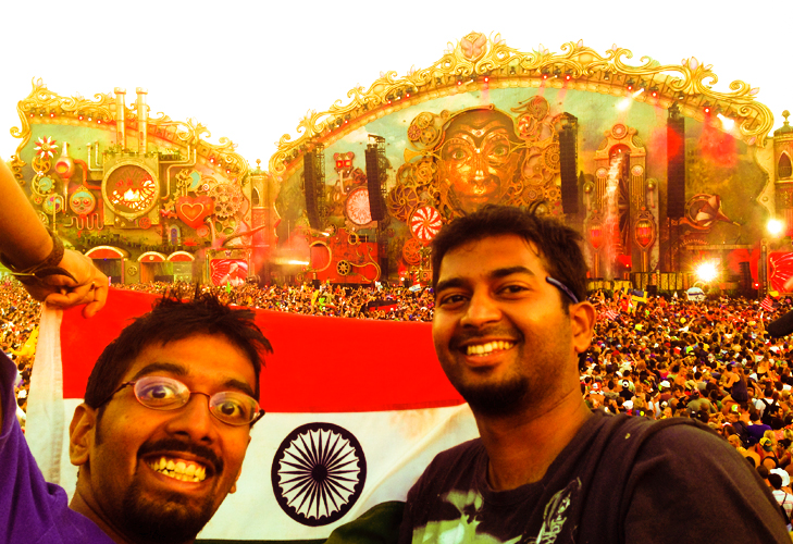 Sachit chirantan with indian flag tomorrowland festival @TheRoyaleIndia