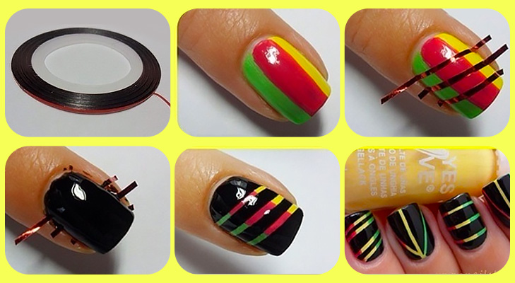 yellow red green black nail paint DIY @TheRoyaleIndia