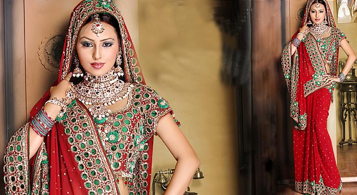 red bridal panetar saree @TheRoyaleIndia