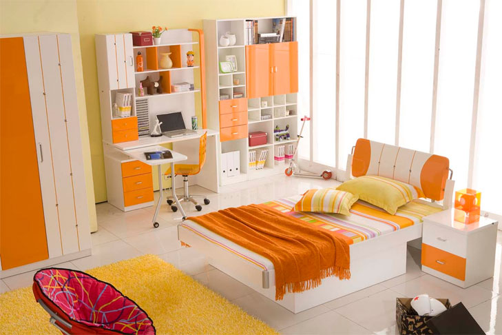 bedroom orange ideas @TheRoyaleIndia