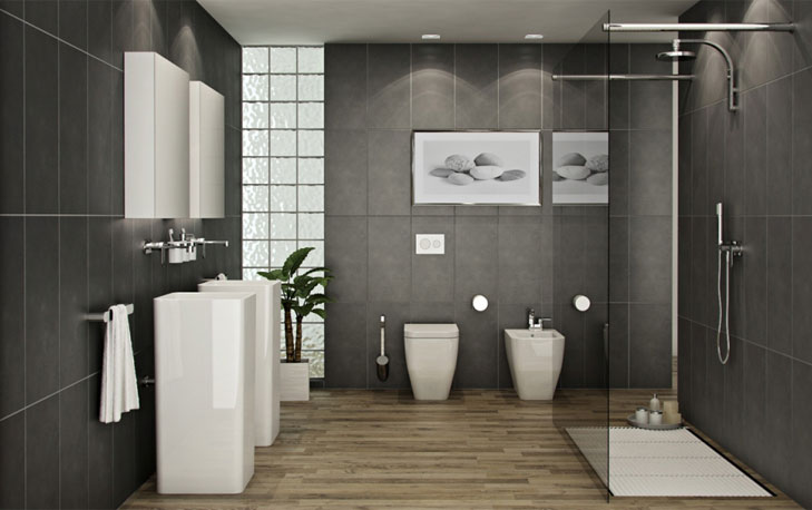 grey bathroom color ideas @TheRoyaleIndia