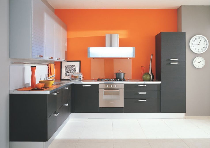 orange color kitchen ideas @TheRoyaleIndia