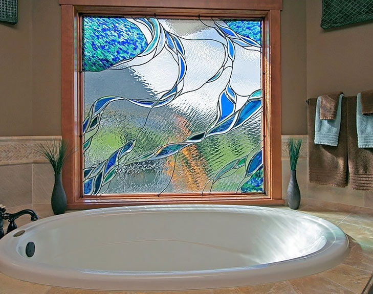 stained glass bathroom window @TheRoyaleIndia