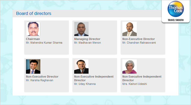 Thomas Cook Board of Directors @TheRoyaleIndia