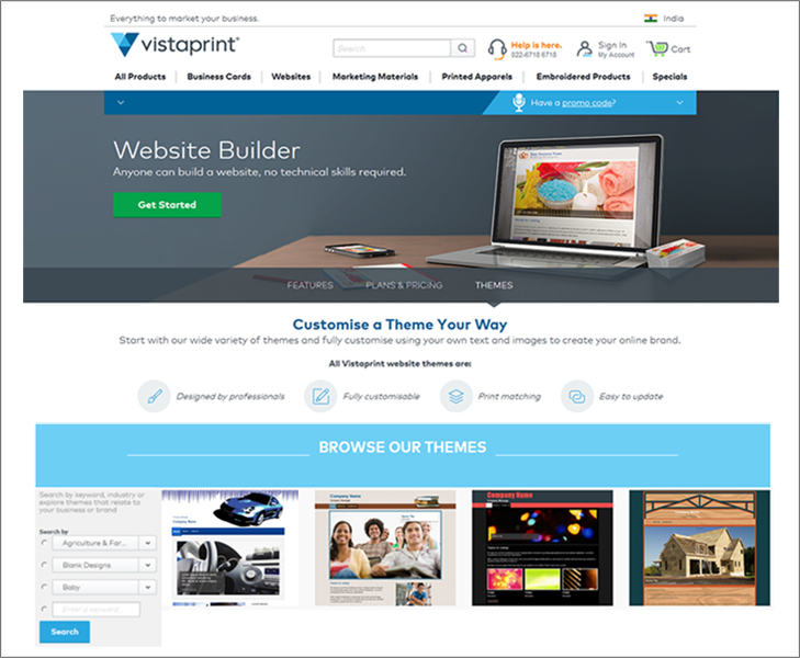 Vistaprint committed to deliver top quality print for Website building cost