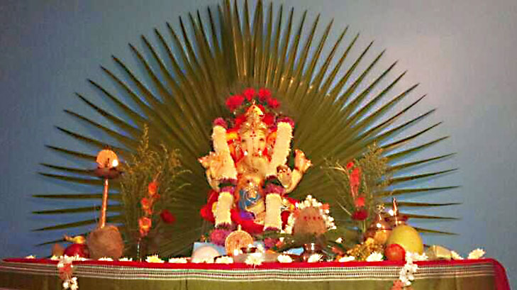 Ganpati decoration ideas for home the royale for Artificial flower decoration for ganpati