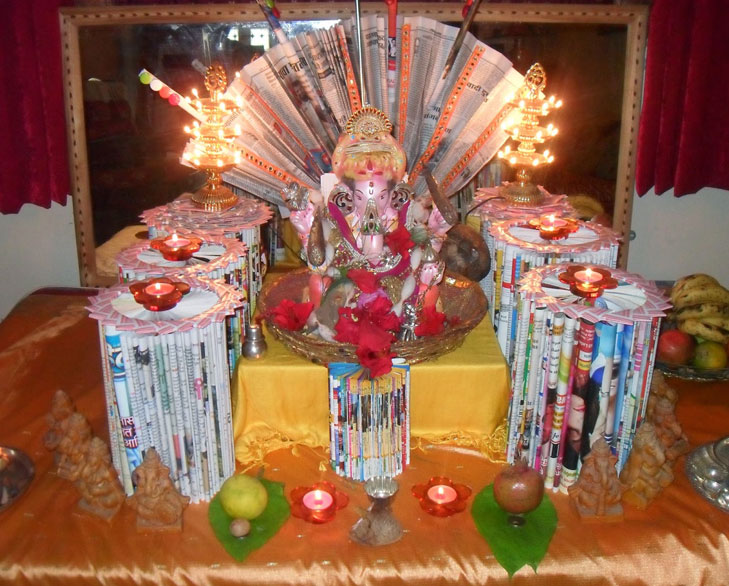Creative ganpati decoration ideas for home the royale Innovative ideas for home decor