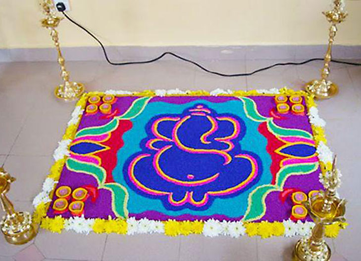 Ganesh rangoli designs coloring pages - Creative Ganpati Decoration Ideas For Home The Royale