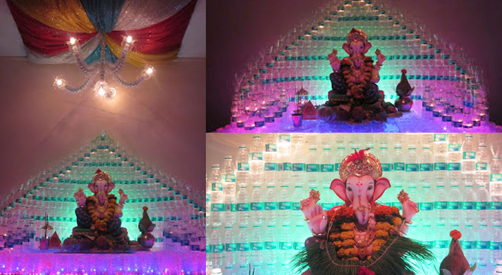 Ganpati Decor Using Bottles@TheRoyaleIndia